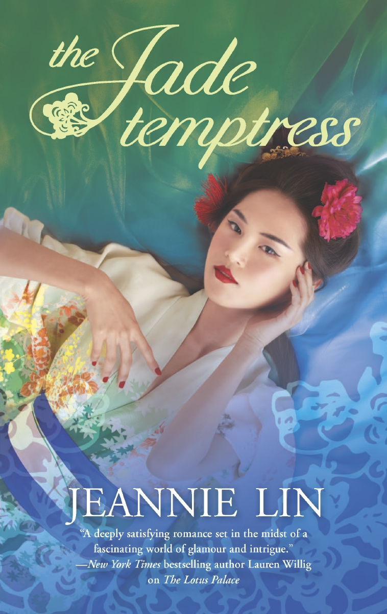 Cover image for Jeannie Lin's The Jade Temptress. A woman with pale skin, dark hair, Asian features, and deep red lips wears a white gown patterned with bright flowers and wrapped with a blue sash. Large red flowers are woven into her hair. One hand is languid and the other held against her face in a pose of subtle invitation.