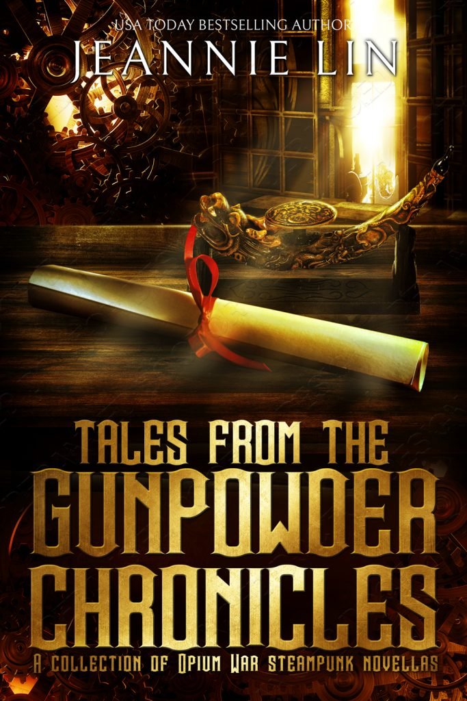 Original cover: Tales from the Gunpowder Chronicles- library with desk and scroll with red ribbon