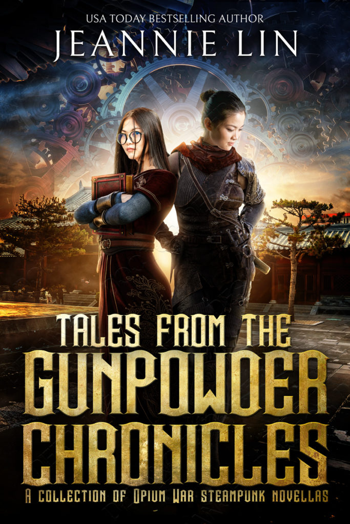 Mockup version of cover: Two heroines with Chinese courtyard in background and gears in sky. Girl with glasses holding book on left, girl in armor with weapons looking down on right