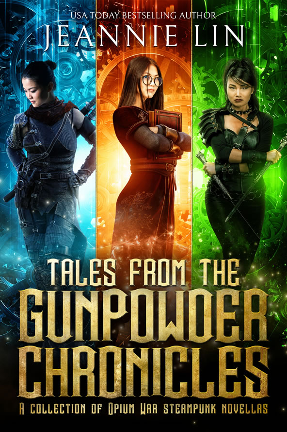 Final version of cover: Three heroines in three color bands, blue, orange, green. Girl in suit with weapons, girl with glasses holding book, girl in leather with two knives.