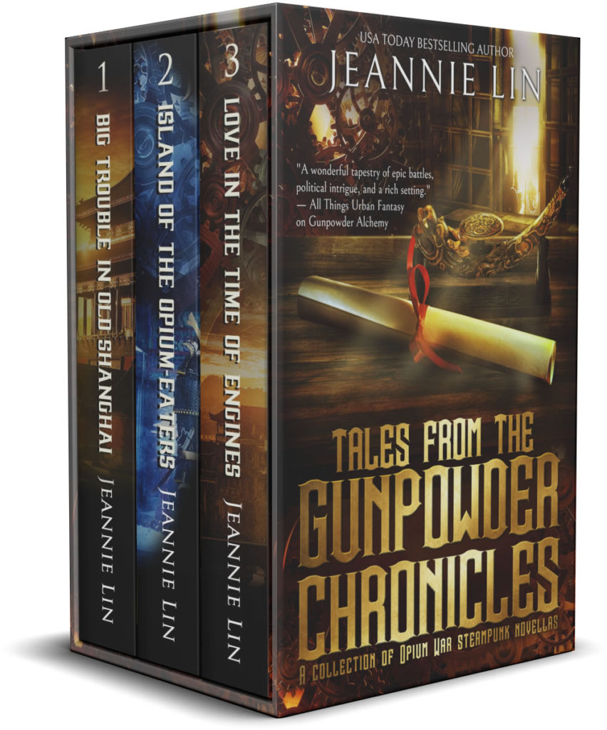 3D Box set: Tales from the Gunpowder Chronicles cover with library and scroll + 3 spines showing in the box: Big Trouble in Old Shanghai, Island of the Opium Eaters, Love in the Time of Engines